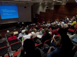 Speaker presenting in the Nordmeyer Theatre at the University of Otago, Wellington