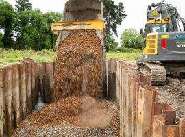 Construction of the woodchip denitrification wall at Silverstream Reserve